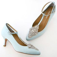 """So refreshing. Pale blue silk vintage wedding shoes featuring classic """"Old World Charm"""". Hand-beaded applique, """"T"""" strap and adjustable ankle strap on a 2 1/2"""" heel."""