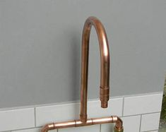 Items similar to Sleek Reclaimed Copper Pipe Lamp - Steampunk / Modern / Industrial on Etsy Copper Taps Kitchen, Copper Pipe Taps, Copper Faucet, Brass Tap, Copper Bathroom, Bathroom Taps, Bathroom Fixtures, Kitchen Fixtures, Belfast Sink Bathroom