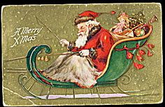 1909 Santa Claus in Sleigh with Toys Postcard. Click on the image for more information.
