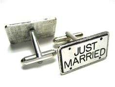 Silver Just Married License Plate Wedding Cufflinks - Wedding Cufflinks - Cufflinks