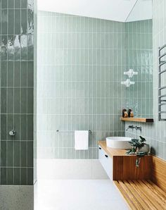 Now trending in interior design: green tile. From moody emerald greens to youthful mint green hues, green tile is having a moment. Check out our favorite bathroom, kitchen, and commercial tile installations. Contemporary Interior Design, Modern Bathroom Design, Bathroom Interior Design, Bath Design, Modern Bathrooms, Interior Designing, Dream Bathrooms, Bathroom Colors, Small Bathroom