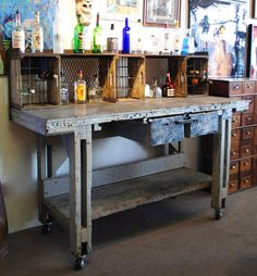 Repurposed Modern Industrial Wood and Metal Liquor and Wine Bar with 2 Drawers for Storage on Casters Portable