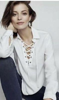 3027d8e35e07 Anthropologie Cloth And Stone Rani White Cotton Lace Up Front Blouse Shirt  L   eBay