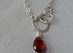 Faceted Garnet Briolette & Sterling Silver by JewelryDesignsByKara