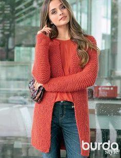 Описание вязания на спицах красного жакета из журнала «Verena. Модное вязание» №5/2014