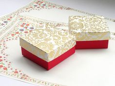 Red and Ivory Wedding favor box by indianbazzaar. Can do customized orders.