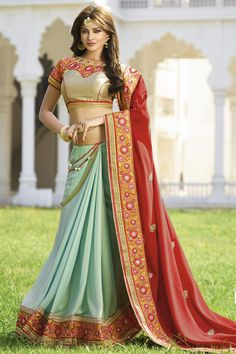 SKY BLUE-RED SHINE GEORGETTE IN DOUBLE COLOR DESIGNER WEDDING SAREE at Lalgulal.com. To Order :- http://goo.gl/uHHeKF To Order you Call or Whatsapp us on +91-95121-50402. COD & Free Shipping Available only in India.