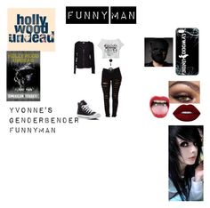 """""""Yvonne's GenderBender Funny Man!"""" by alice-the-skatergirl ❤ liked on Polyvore featuring Converse, Velvet by Graham & Spencer, Lime Crime, emo, scene, HU and Funnyman"""