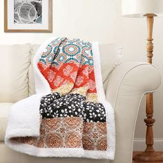 Throw blanket for the coach . Lush Decor Bohemian Stripe Sherpa Throw, by Turquoise/Orange Bohemian Decor, Bohemian Style, Bohemian Quilt, Boho Chic, Bohemian Pattern, Orange And Turquoise, Orange Red, Queen, Decorative Throws