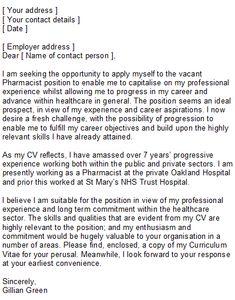 images about letter on pinterest   cover letter example    sample pharmacist cover letter for resume