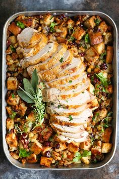 Sheet Pan Herb Roasted Turkey and Cranberry Pecan Stuffing - The easiest Thanksgiving holiday meal! A sheet pan turkey dinner! Sheet Pan Herb Roasted Turkey and Cranberry Pecan Stuffing - The easiest Thanksgiving holiday meal! A sheet pan turkey dinner! Turkey Dishes, Turkey Recipes, Chicken Recipes, Pumpkin Recipes, Vegan Pumpkin, Sausage Recipes, Thanksgiving Recipes, Holiday Recipes, Thanksgiving Holiday
