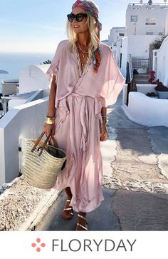 Solid Wrap V-Neckline Maxi Shift Dress, solid dress, V-neckline, maxi dress, shift dress, vacation, style, outlook of the day, summer in 2018. Estilo Hippy, Summer Maxi Dresses, Floryday Dresses, Dresses For Sale, Women's Fashion Dresses, Cute Dresses, Short Dresses, Vacation Style, Fashion Mode
