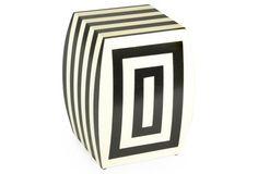 Freida Stool, Black/Cream Stripe