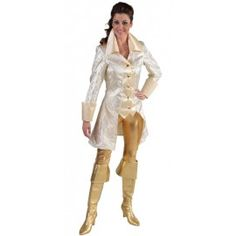 Déguisement manteau brocart doré femme luxe