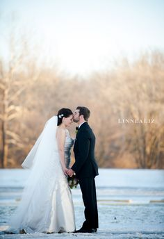"I adore winter weddings! (btw this is a really really cute pose that won't make you kids go ""ewwww kissing"" quite so much)"