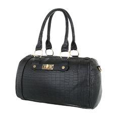 16,99 € - Elegante Tasche aus strukturiertem Kunstleder gefertigt. Goldfarbene, metallische Applikationen vollenden das Design.