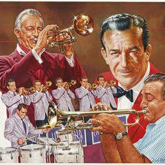Trumpet Art - Harry James Trumpet Giant by Dick Bobnick Jazz Artists, Jazz Musicians, Jazz Instruments, Yellow Artwork, Aircraft Painting, Harry James, Trending Art, Music Photo, Art Pages