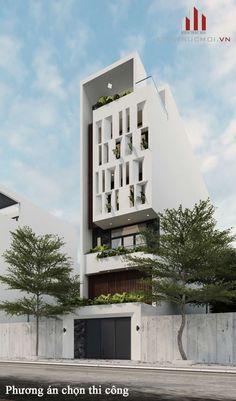 GIẢI PHÁP MẶT TIỀN CHỐNG NẮNG HƯỚNG TẤY Tropical Architecture, Studios Architecture, Modern Architecture House, Architecture Details, House Front Design, Modern House Design, Singapore House, Narrow House Designs, American Houses