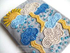 Silver Lining felt covered journal - handmade. $24.00, via Etsy.