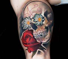 Sugar Skull with Flowers tattoo by Matyas Halasz