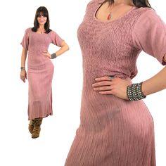 Vintage 70s Hippie Dress Boho maxi Dress Gauze Dress Nude Dress Sheer Dress Sun Dress Grunge Dress Gypsy Dress Bohemian Dress Medium by SHABBYBABEVINTAGE on Etsy