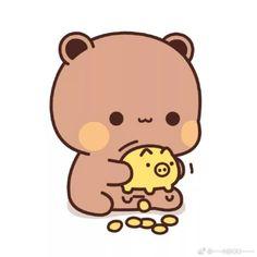 Cute Bunny Cartoon, Cute Couple Cartoon, Cute Kawaii Animals, Cute Cartoon Pictures, Cute Images, Chibi Cat, Cute Anime Chibi, Mochi, Cute Panda Wallpaper