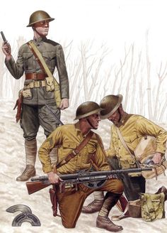 A Chauchat machine gun team at Belleau Wood. While enlisted Marines had begun to change over to the Army-style drab uniforms, the Lt. still wears the older forest green pattern.