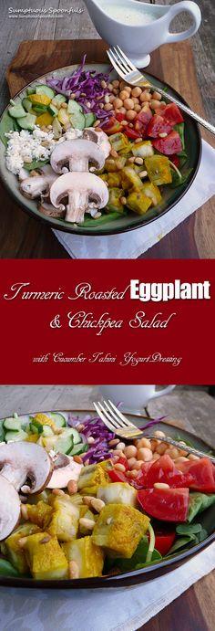 Turmeric Roasted Eggplant & Chickpea Salad ~ Sumptuous Spoonfuls #deconstructed #hummus #salad #eattherainbow