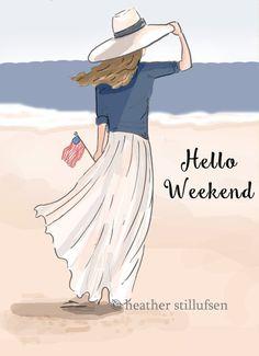The Heather Stillufsen Collection from Rose Hill Designs Rose Hill Designs, Hello Weekend, Happy Weekend, Weekend Vibes, Long Weekend, Woman Beach, Beach Art, Illustrations, Illustration Art