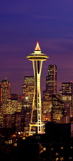 The Space Needle in Seattle, Washington at twilight hour by Brent Smith
