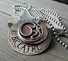 Ohm Necklace Breathe Om Charm Mixed Metal by ArtandSoulJewelry, $36.00