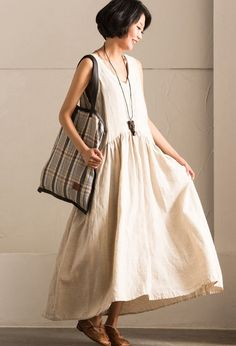 Pre-Order V-neck Sexy Cotton Linen Simple Sleeveless Long Dress Summer Women Clothes Q018B