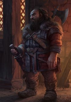 m Dwarf Rogue Thief Leather Armor Shortsword Dagger Battle Axe urban City undercity lg Fantasy Dwarf, Fantasy Armor, Medieval Fantasy, Dark Fantasy, Fantasy Concept Art, Fantasy Character Design, Character Design Inspiration, Character Art, Dungeons And Dragons Characters