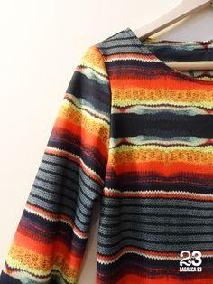 Detalle de vestido con colores tribales en #23CB en Lagasca 83. www.facebook.com/23CBCristinaBarrilero
