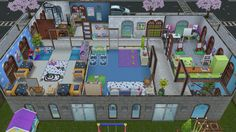 Daycare center for my baby and toddler Sims - Rear view of the Second floor with Toddler art room, baby playroom, Toddler nap/playroom, toddler classroom and separate entry way into the administrator's apartment - in my Sims Freeplay