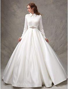Ball Gown High Neck Sweep / Brush Train Satin Wedding Dress with Beading Sash / Ribbon Bow by LAN TING BRIDE®