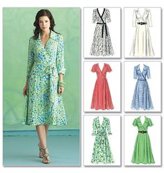 Butterick 5030 Wrap Dress Pattern Sewing Sizes Uncut for sale online Easy Sewing Patterns, Clothing Patterns, Dress Patterns, Stitching Patterns, Sewing Clothes, Diy Clothes, Clothes For Women, Dress Sewing, Summer Dresses
