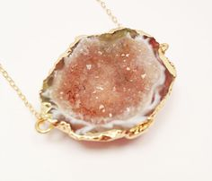 Pink and Champagne Druzy Necklace by Crownandcourt on Etsy, $48.00