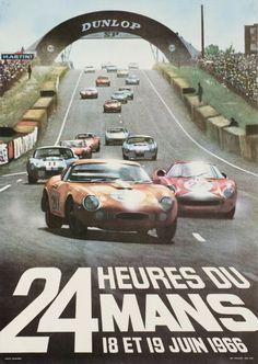 """Le Mans, 24h du Mans 1966 (Delourmel Andre / 1966) """"24 Hours of Le Mans 1966"""", original poster for the world famous car race."""