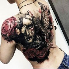 Tatuagem Full Back Tattoos, Back Tattoo Women, Tattoos For Women, Badass Tattoos, Sexy Tattoos, Girl Tattoos, Tatoos, Skull Tattoos, Rose Tattoos