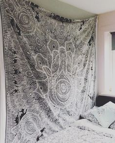 Black White Queen Multi Sketched Hand Hamsa Wall Tapestry on RoyalFurnish.com, $20.45