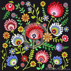Polish pattern folk, flowers background