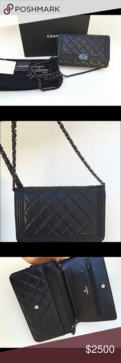 Authentic Chanel So Black Boy Wallet On Chain Bag Brand New 100% Authentic Chanel So Black Boy WOC Wallet On Chain Bag RARE CHANEL Bags Crossbody Bags