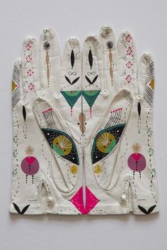 Cosmic Animal Gloves, old gloves hand-painted to the theme of spirit animals, mounted and framed by Bunnie Reiss