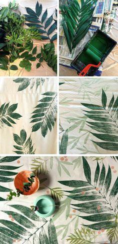 diy printmaking Super coole Idee l Mit Blttern drucken l Tolle Unikate basteln l printmaking with leaves Fabric Painting, Fabric Art, Fabric Crafts, Paint Fabric, Buy Fabric, Fabric Decor, Body Painting, Fabric Design, Art Projects