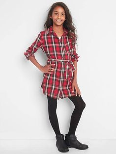 Girls Plaid twill long sleeve shirtdress        #girlsclothes #affiliate