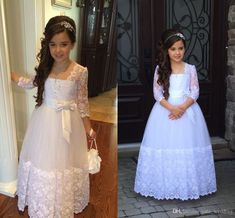 Stunning Long Sleeves Flower Girls Dresses For Weddings Appliques Lace Tulle Floor Length First Communion Dresses Junior Bridesmaid Dresses Cute Dresses For Girls Girls Formal Dresses From Yate_wedding, $64.61| Dhgate.Com