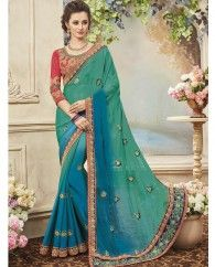 1. Sea Green And Blue silk chiffon sari 2. Embellished with heavy border and hand made diamond with embroidery & gota work 3. Comes with a matching embroidered art silk unstitched blouse