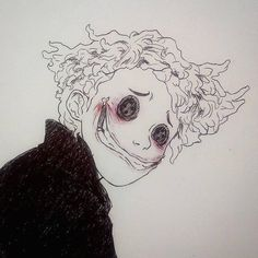 Other Wybie from Coraline Creepy Drawings, Dark Art Drawings, Creepy Art, Art Drawings Sketches, Cool Drawings, Creepy Sketches, Dark Art Paintings, Random Drawings, Painting Collage