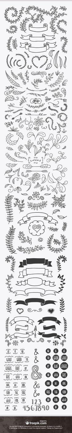 handsketched_design_elements_ribbons_laurels_preview